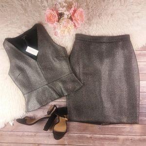 Banana Republic gunmetal shine tweed skirt suit A2